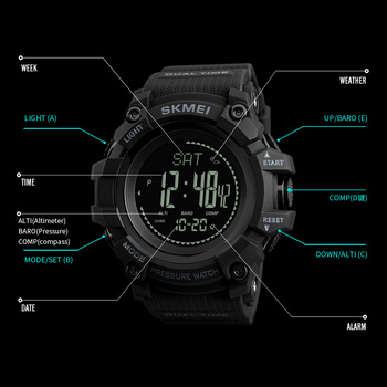 New Mens Sports Watches SKMEI Brand Outdoor Digital Watch Hours Altimeter Countdown Pressure Compass Thermometer Men Wrist Watch 6
