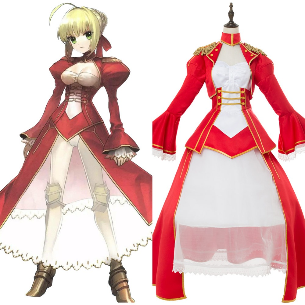 Fate Extra Cosplay Last Encore Nero Saber Costume Adult Women Red Dress Halloween Carnival Cosplay Costumes Tailor Made