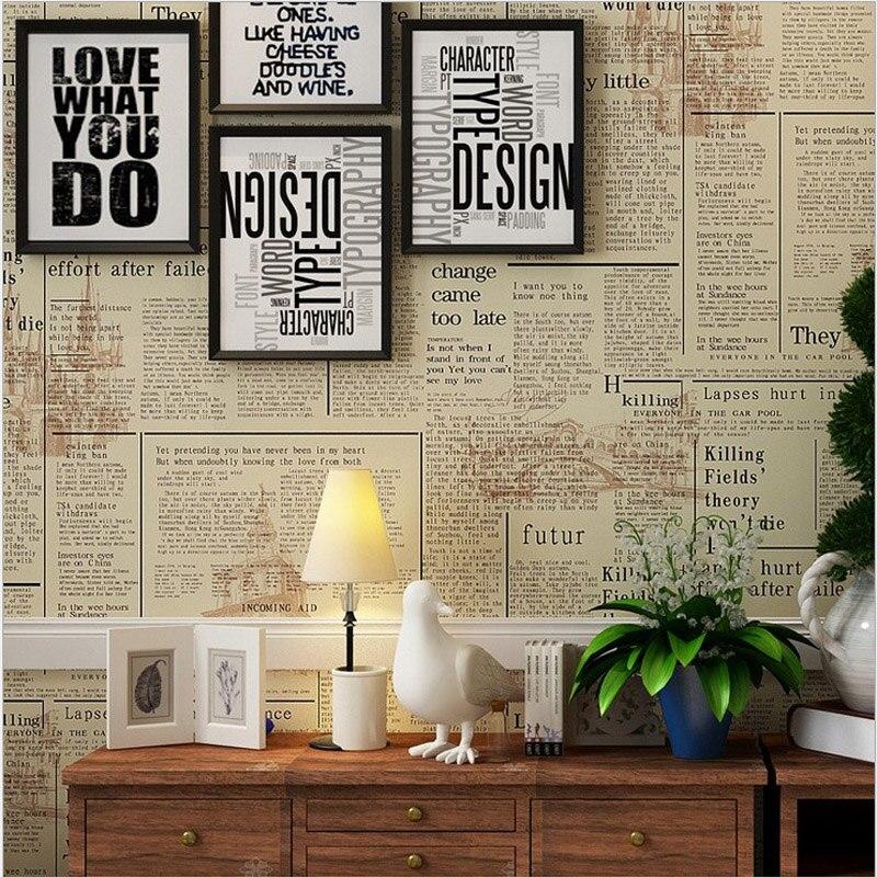 Pvc Reminiscence English Newspaper Vintage Style Wallpaper