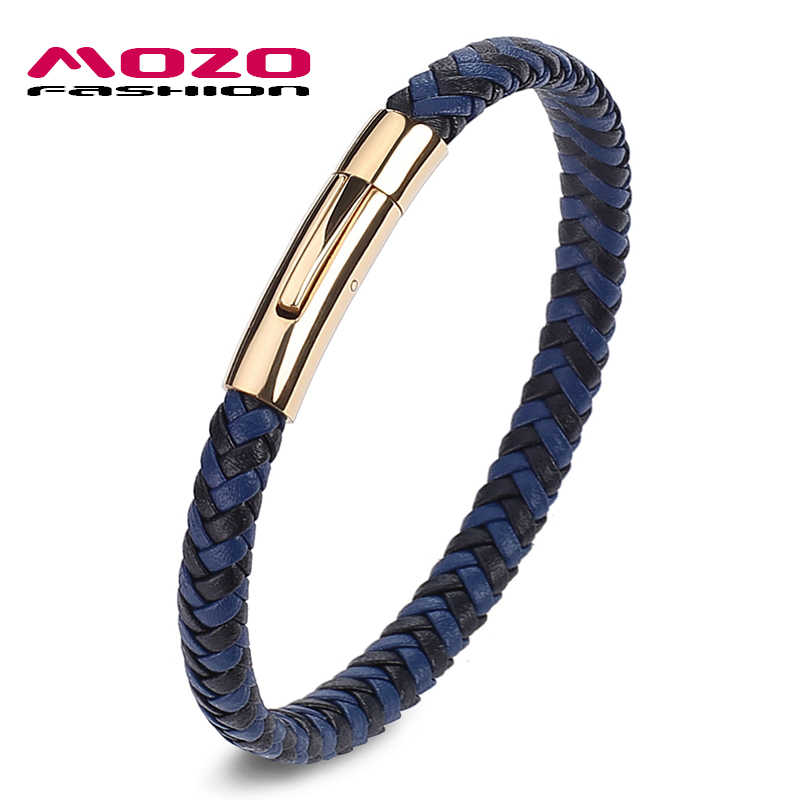 f6ccecb790c MOZO FASHION 2017 HOT Man Charm Bracelets Blue Leather Rope Mixed Braided  Bracelet Simple Style Punk