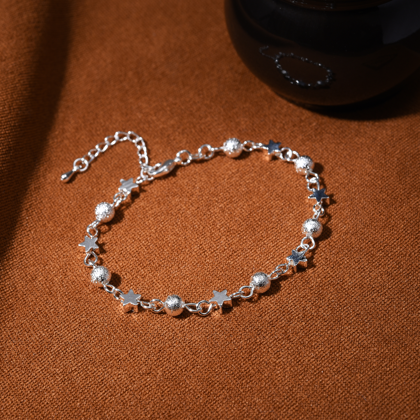 Silver Bracelet Women Summer Fashion Scrub Star Beads Bracelets Bangles Charm Jewelry Wedding Party Gift 2018 In From