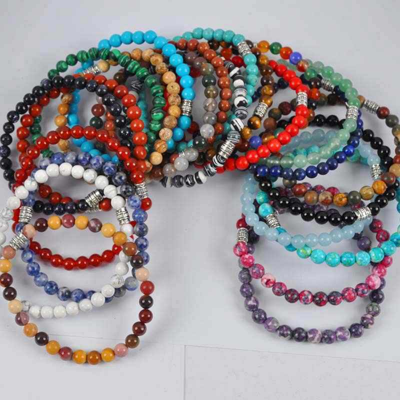 Mixed Stone Beads Tibetan Silver Bracelet Stretch Jewelry (10 pcs/lot) G617