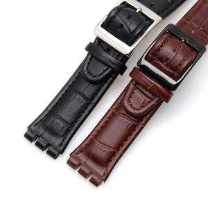 Image 3 - 17 مللي متر 19 مللي متر حقيقية جلد العجل حزام (استيك) ساعة الصلب المشبك ل سواتش ووتش سنوات YCS حزام مربط الساعة سوار رجل الأزياء المعصم + أدوات
