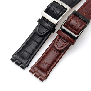 Image 3 - 17MM 19MM Genuine Calf Leather Watch Band Steel Clasp For Swatch Watch YRS YCS Strap Watchband Bracelet Man Fashion Wrist +Tools