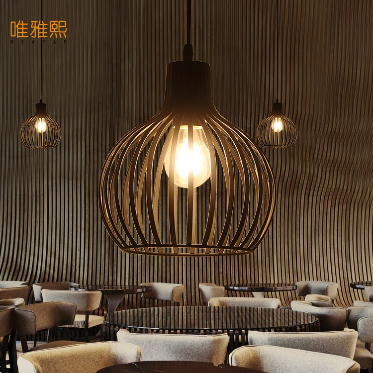 Retro indoor lighting Vintage pendant light LED lights  iron cage lampshade warehouse style light fixture