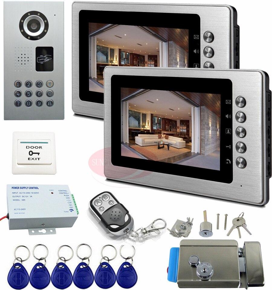 Видеодомофоны с Электрический замок IP65 Водонепроницаемый дома Видеодомофоны CCD Камера 7 ''Цвет высокое Разрешение Видеодомофоны 1V2
