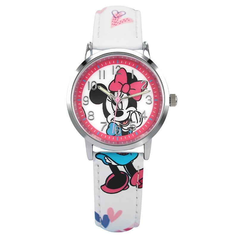 Girls Watch Quartz Children Wristwatches Disney Brand Mickey Mouse Frozen Child Cartoon Watches Waterproof Bow Random Color Watches