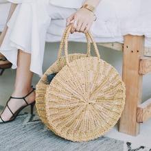 Women Woven Round Rattan Straw Bag Bali Bohemian Beach Circle Handbag Summer Handmade Retro Knitted Gold Silver Messenger Bags
