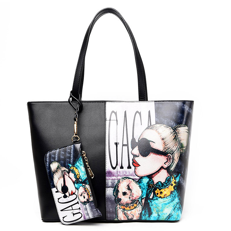 все цены на PU Leather Female Shoulder Bag With Small Clutch New Women Handbag Winter Sweet Ladies Printed Cartoon Tote Zipper Bags
