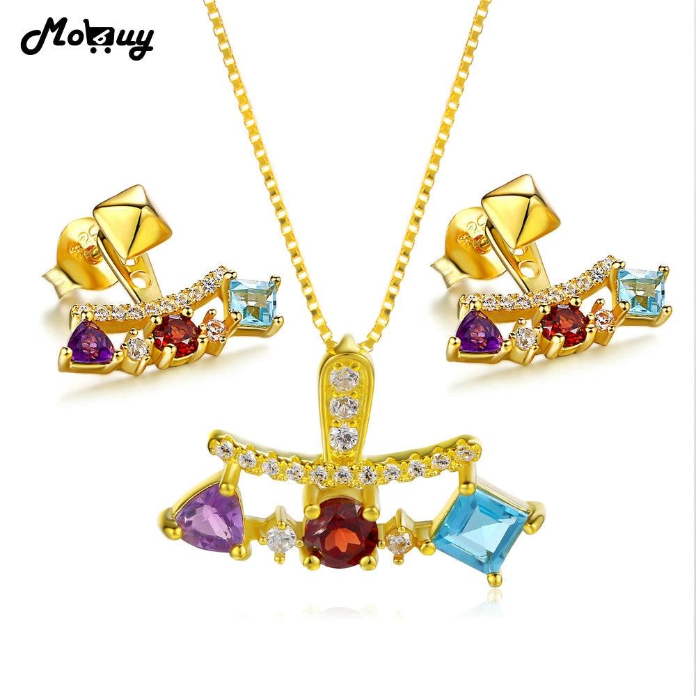 MoBuy 3Natural Gemstone 2pcs Jewelry Sets 100% 925 Sterling Silver For Women Vintage Engagement Fine Jewelry V013EN