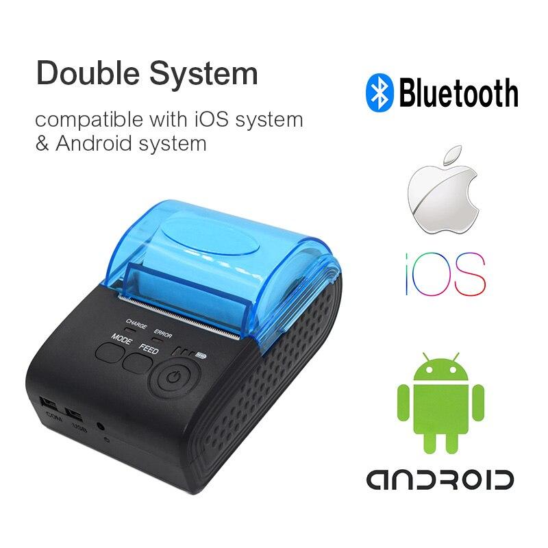 ZJiang 58 мм Термальность принтер билетов Беспроводной Портативный принтер Mini Bluetooth Pos получения для iOS Android Windows POS-5805DD