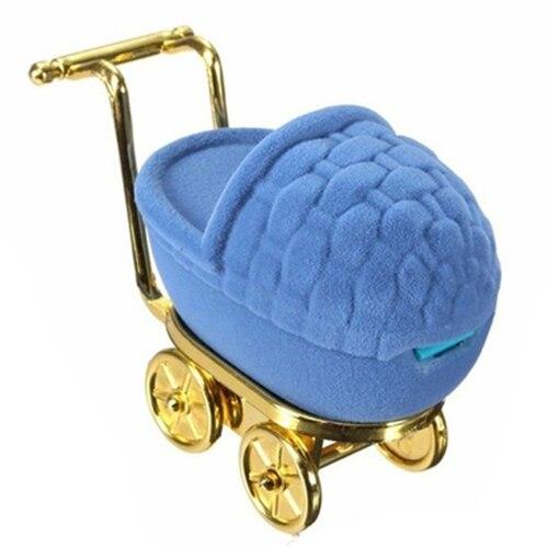 Портативный бархат коляска кольцо Box дисплей ювелирных держатель для хранения случае подарочный футляр (синий) 9*4.5*6.5 см