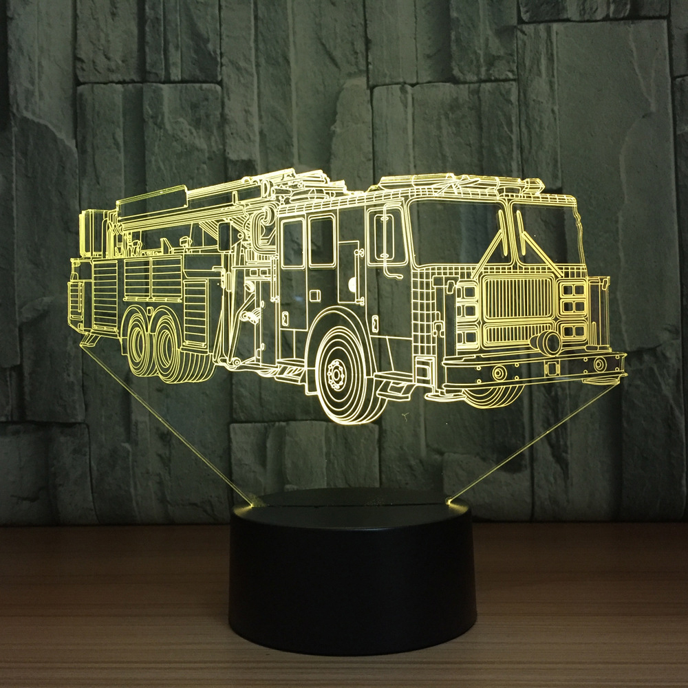 3D Fire Engine Car Table Lamp 7 Colors Changing Fire Truck Long Car Night Light USB Sleep Light Fixture Bedroom Decor Kids Gift 3d luminous ice hockey player shape led table lamp 7 colors changing home living room decor light fixture baby sleep night light
