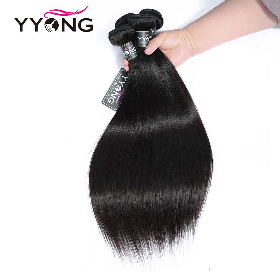 Yyong прямые волосы 4 пучка с закрытием бразильские человеческие волосы плетение пучки кружева закрытие не remy волосы