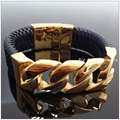 New Design 100g 316L Stainless Steel Gold Plated And Black Leather Weave Bracelets Bangles For Men&Boy,Perfect Technology