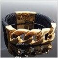 Novo Design 100g Aço Inoxidável 316L Banhado A Ouro E Preto Weave Couro Pulseiras Bangles For Men & Boy, Tecnologia perfeita