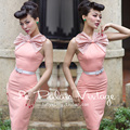 FREE SHIPPING Le Palais Vintage 2016 Summer New Arrival Hepburn Style Bow Halter Neck Pink High Waist Slim Middle Dress Women
