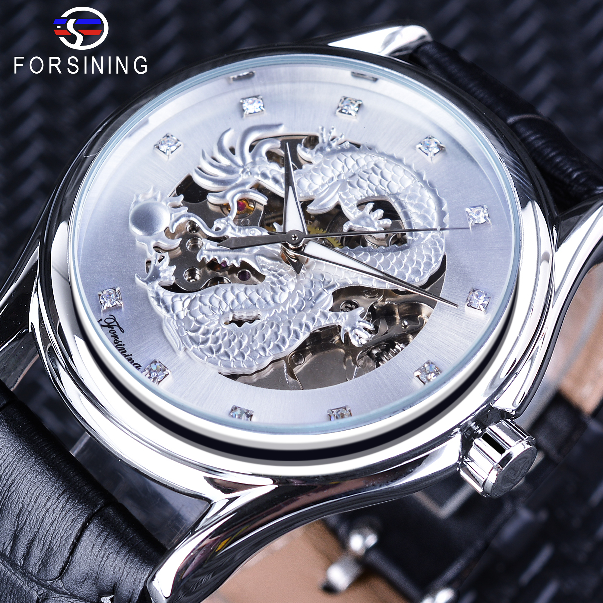 men classic roman watches brand leather forsining mechanical automatic top hand tourbillion pin blue luminous calendar genuine number