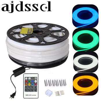 DHL 220V 110V Flex LEDNeon Rope Light RGB 25m 50m 100m Indoor Outdoor for Holiday Party Valentine Decor Blue Yellow White by DHL