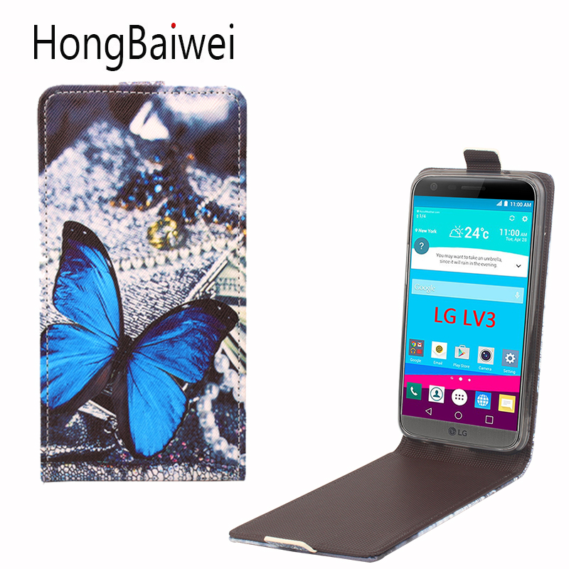 HongBaiwei for LG LV3 Case Girls Butterfly Pattern Vertical Flip Leather Phone Case Cover for LG LV3