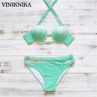 VINIKNIKA 2017 Split Gradient Colors Collar Tops Coat Bikini Pop Split Swimsuit Swimwear Summer Women Bikini