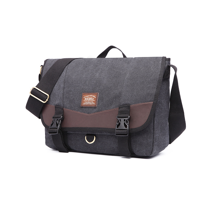 6f0ce907b7 KAUKKO B Canvas Bag Fashion Men Simple Student Bag Hand Shoulder Messenger  Bag Male Casua Large Capacity Crossbody Bag L-235