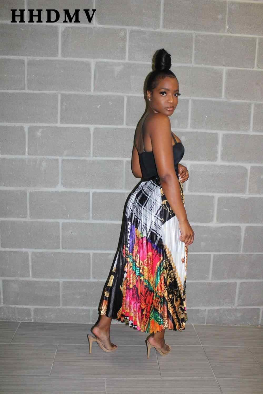 ee9cb9750 HHDMV 2019 verano mujeres faldas plisadas casual faldas coloridas señoras  alta calle viento mujeres jóvenes moda falda impresa GYC11800