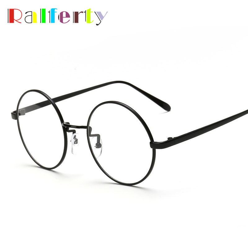 22a95f6d7f Ralferty Gold Round Glasses Frame With Clear Lens