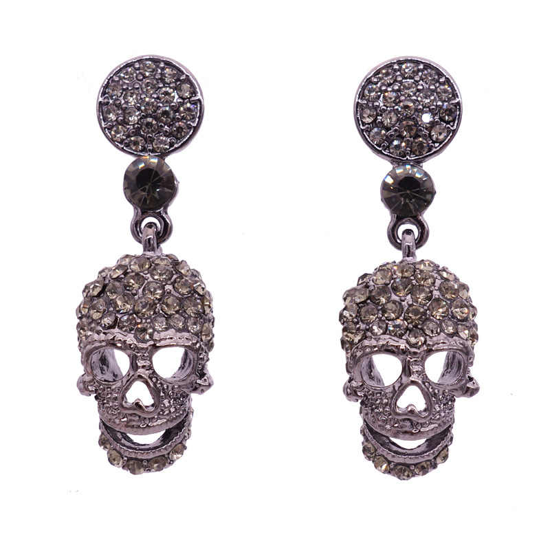Newest Halloween Steampunk Black Long Gothic Drop Statement Earrings Brincos Vintage Punk Skull Rhinestone Earrings For Women