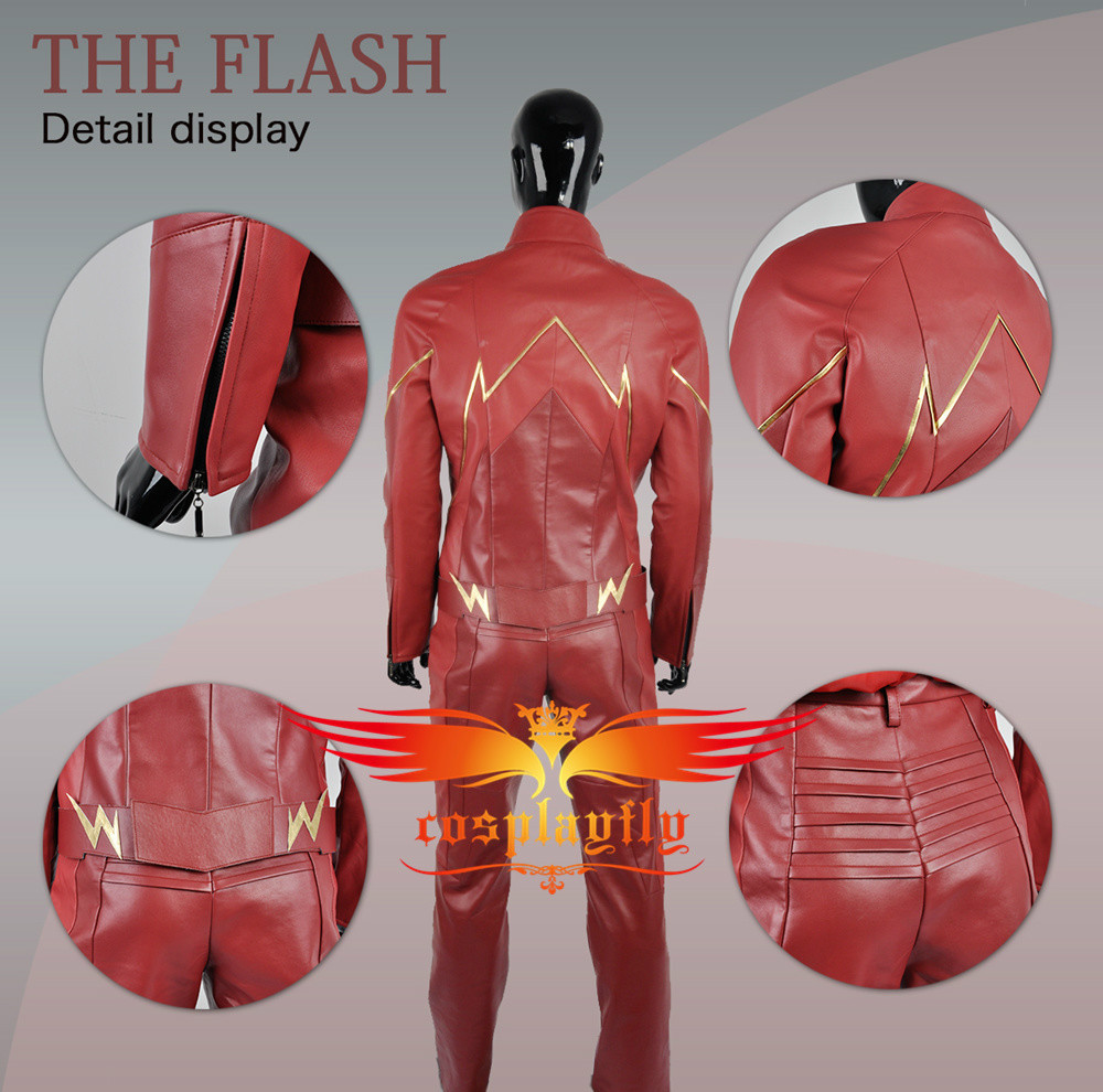 The Flash 4 Barry Allen Cosplay Costume Leather Outfit Custom Made Battleframe