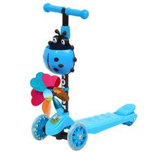 New Windmill Ladybug Scooter Foldable Adjustable Height Lean to Steer 3 Wheel Scooters for Toddler Kids Boys Girls Age 3-8