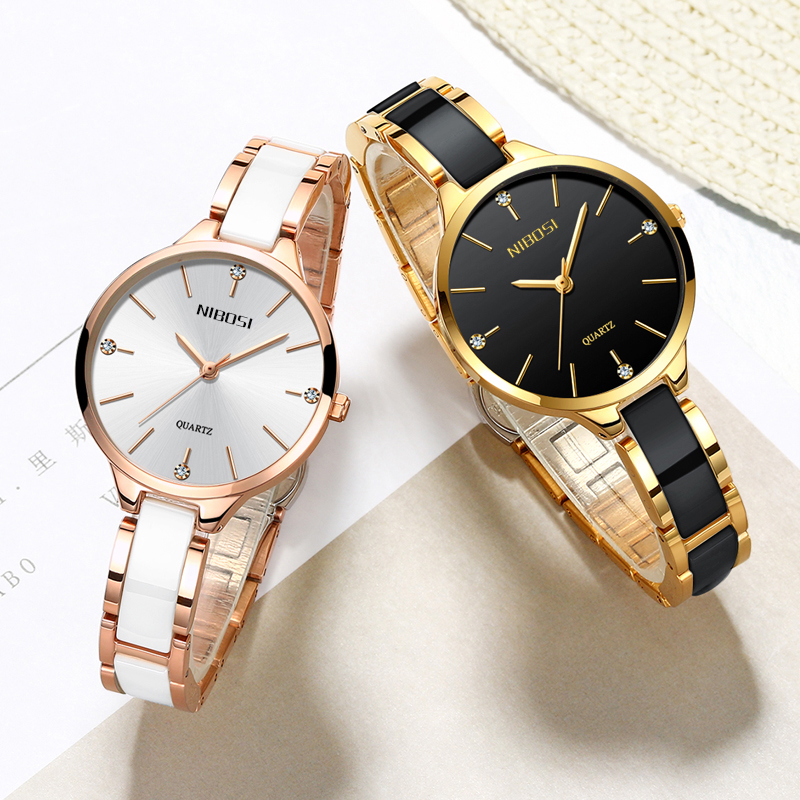 NIBOSI Relogio Feminino Women Watches Top Brand Luxury Watches Diamond Fashion Ladies Watches Simple Ceramic Female Quartz Watch