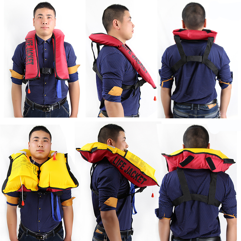 Swiming life vest fishing life jacket 5 sec for Best inflatable life vest for fishing