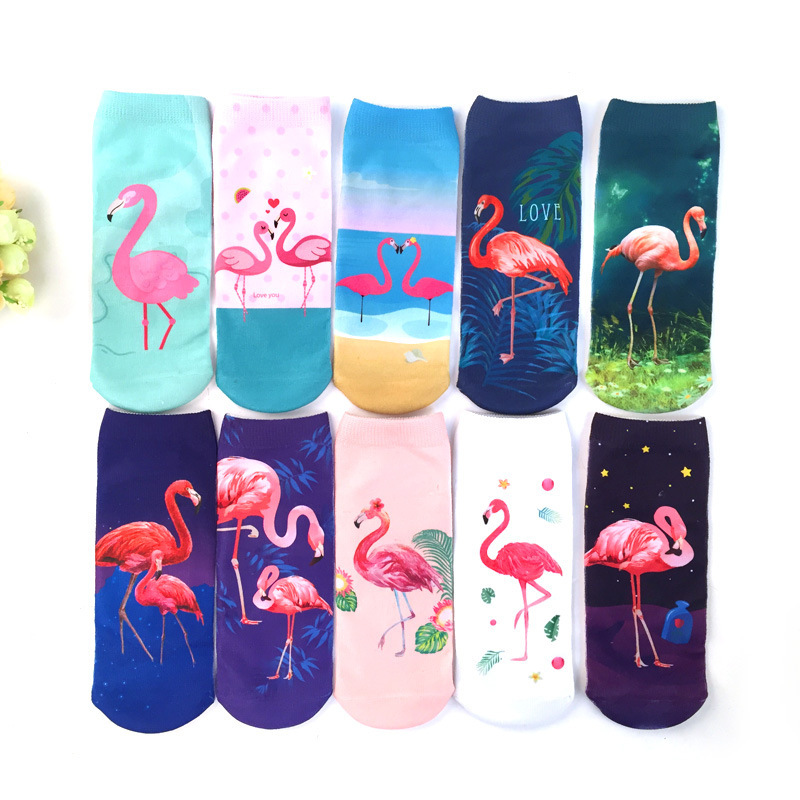 3D Print Casual Socks Flamingo Women Durable Socks Cute Low Cut Ankle Sock Cartoons Casual Type Teenager Socks 1pair=2pcs Ms21