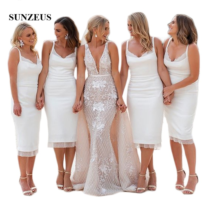 Spaghetti Straps Sheath Short   Bridesmaid     Dresses   White Tea-Length Sweetheart Maid of Honor   Dresses   Back Slit Party Gowns SBD131