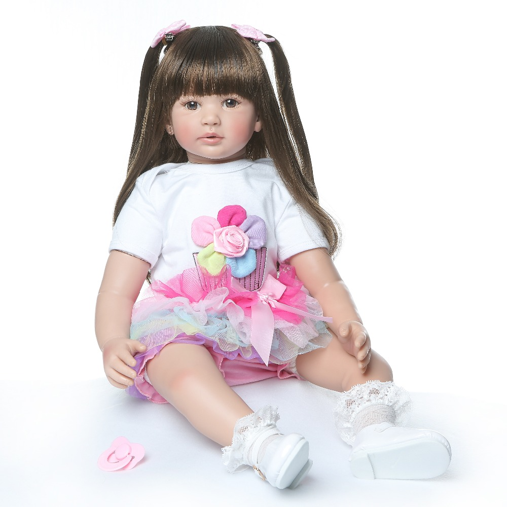 60CM big size reborn todder girl princess doll long soft hair comb fun toy soft touch