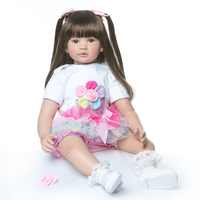 Muñeca de princesa reborn todder de tamaño grande, 60CM, peine de pelo suave largo, juguete divertido, tacto suave, realista, regalo de Navidad
