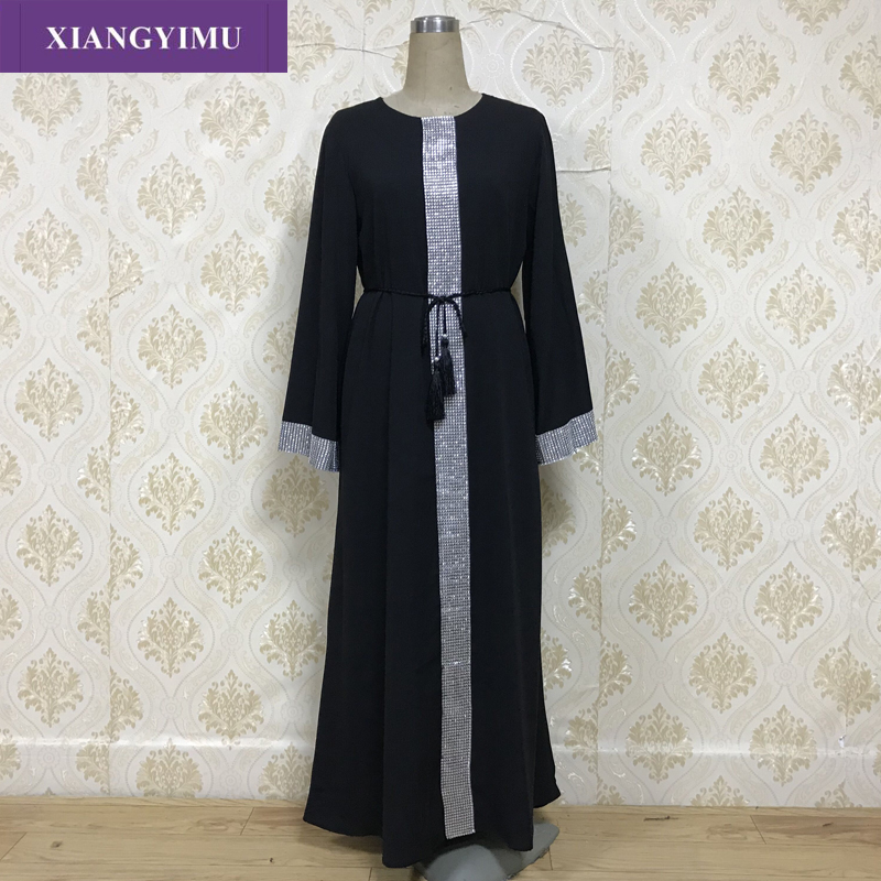 Factory Direct F803-1 Sells Well Abaya Dubai Middle East Turkey Arab Muslim Abaya Loose Version With Belt To Show Slimming Style