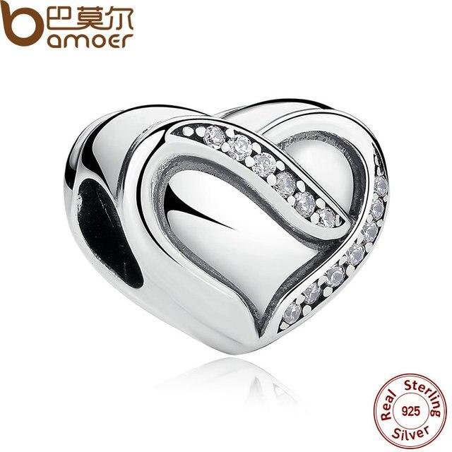 Regalo de boda bamoer 925 cinta de plata del amor, Clear CZ Encantos para Las Pulseras amp Brazaletes Joyería de Plata PAS268
