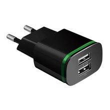 """טלפון מטען האיחוד האירופי ארה""""ב תקע 2 יציאות LED אור USB מטען 5 V 2A קיר מתאם נייד טלפון טעינה עבור ios andriod חכם טלפונים"""