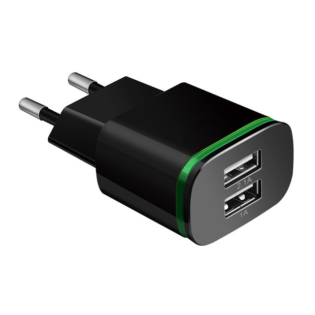 Cargador de teléfono de la UE nos enchufe de 2 puertos del USB de la luz LED cargador 5 V 2A adaptador de pared de carga del teléfono móvil para ios android teléfonos inteligentes