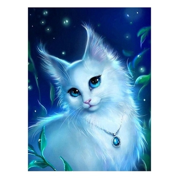 Full White Cat 5D DIY Diamond Painting Round Rhinestone Needlework Embroidery Animal Cross Stitch Room DecorationCrafts