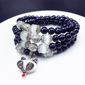 Multi-Layer 108 Buddha Prayer Beads Mala Bracelet Bluestone Natural Stone Bracelet Tibetan Style Lovely Fox Pendant Great Gift
