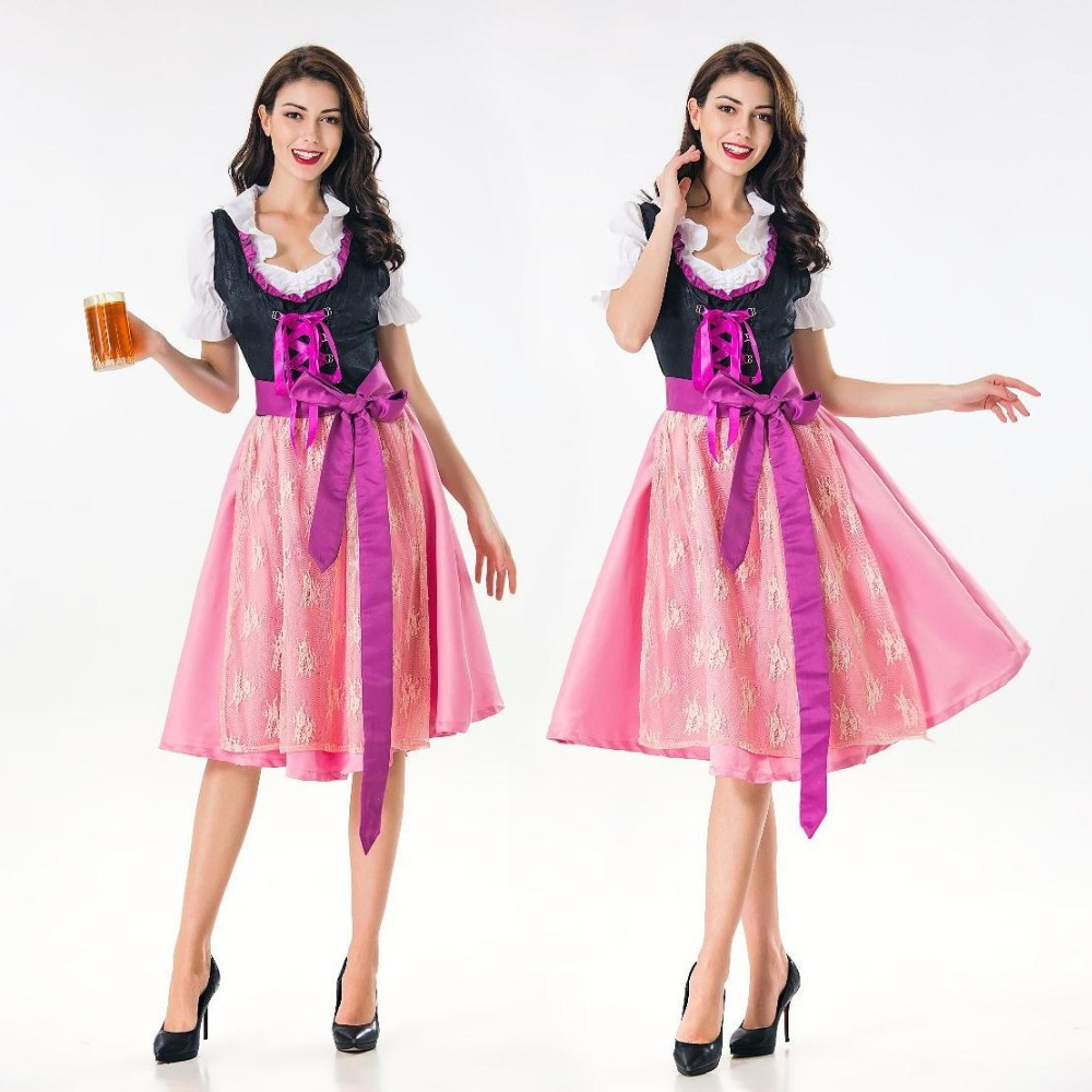 Newest Women Sexy Pink Bavaria Oktoberfest Costume Germany Tradition Costume Oktoberfest Beer Girl Costume Bavarian Dirndl Dress