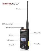 מכשיר הקשר 2pcs Radioddity GD-77 Dual Band Dual זמן חריץ DMR דיגיטלי אנלוגי שני הדרך רדיו 136-174 400-470MHz Ham מכשיר הקשר עם כבל (2)