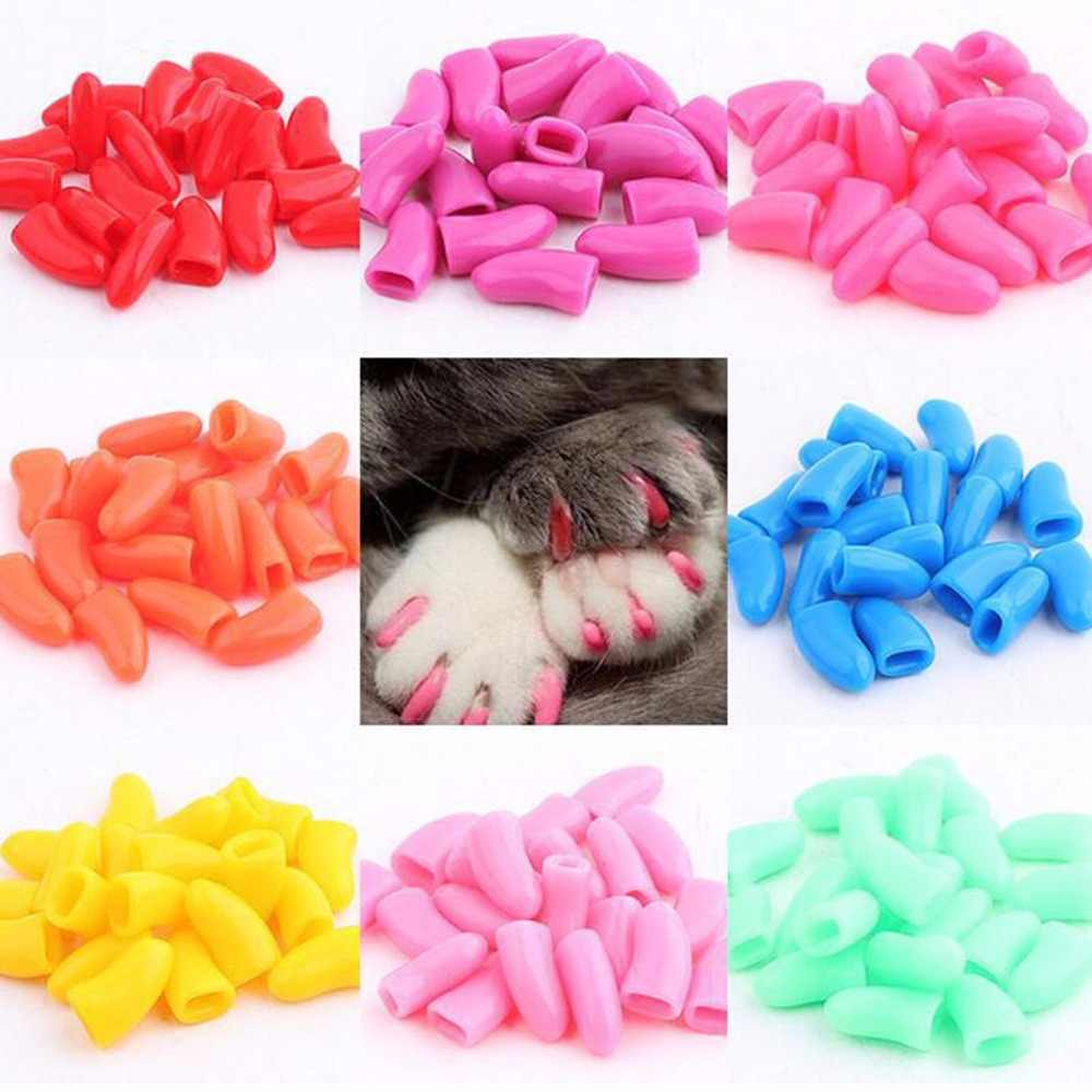 20 pcs Pet Puppy Cat Kitten Nail Cap Soft Cover Up cap Pet Nail Protector Paw Claw Grooming Scratch Free Glue Pet Supplies C42