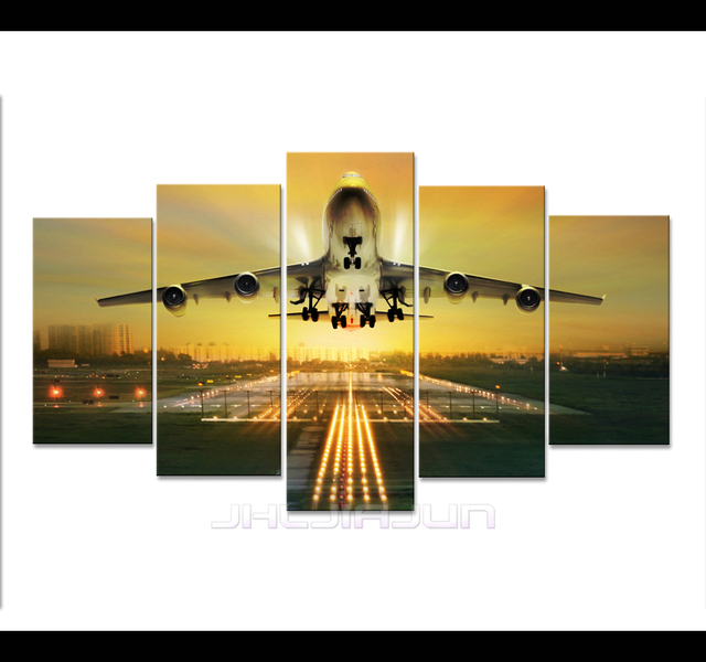 HD Print 5 pieces aircraft airplane canvas painting for children ...
