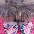 Бесплатная Доставка цветы перлы Rhinestone кристалл девушки женщин bling фокс меховой моды Снегоступы детей Сапоги теплая Зима обувь