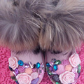 Envío Libre flores de perlas Rhinestone de la muchacha cristalina bling de las mujeres de moda de piel de zorro Botas de Nieve niños Botas de Invierno cálido zapatos