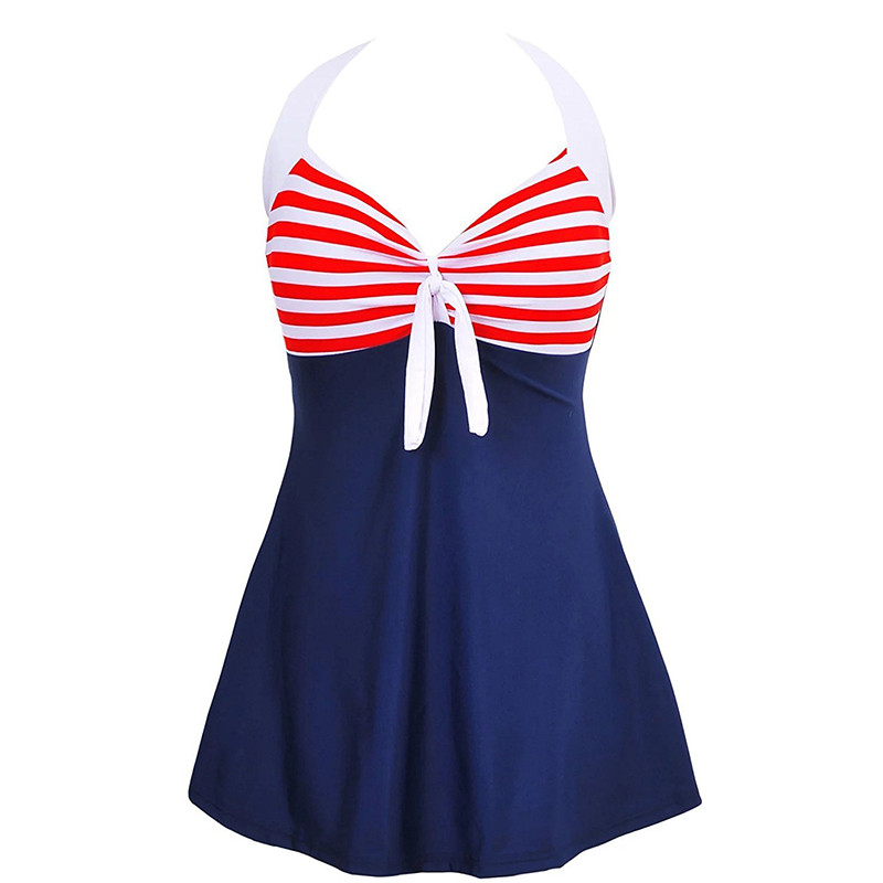 AZUE Women Summer Dress Vintage Sailor Straps Plus Size Beach Dress Halter Pin Up V-Neck Beach Dress